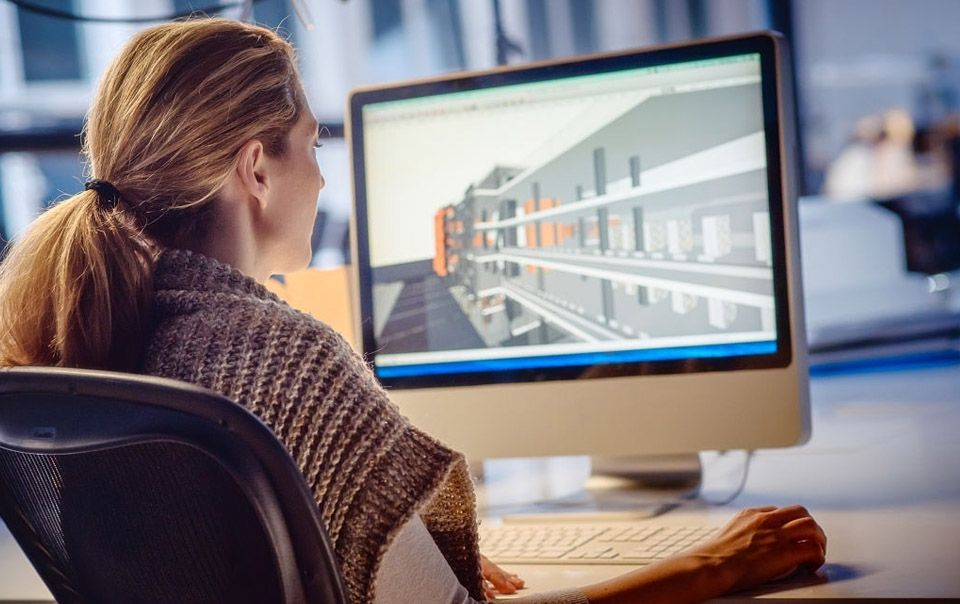 Architect using BIM, Building Information Modelling at work