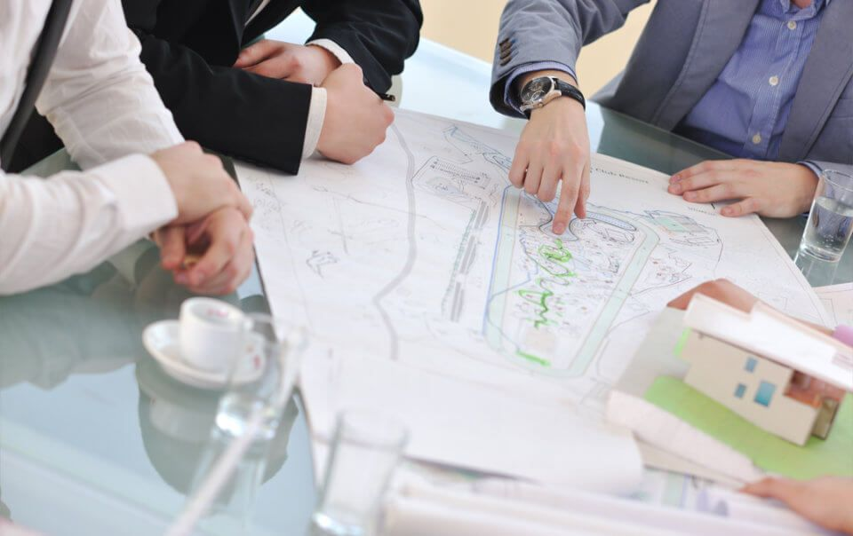 London architects discussing a residential project